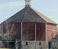A multi-sided barn in Grafton, Wisconsin