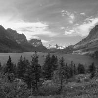 """Saint Mary Lake  Black And White Photography"" by Photography Moments"