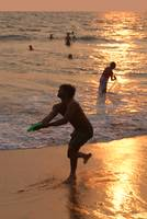 Frisbee Thrower on Varkala Beach at Sunset