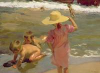 Children on the seashore by Joaquin Sorolla y Bast