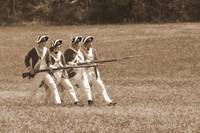 4 Redcoats Charging sepia