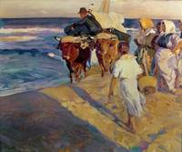 Towing in the Boat, Valencia Beach by J. Sorolla y