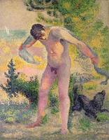 Bather drying himself at St. Tropez by Henri-Edmon