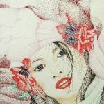 """Geisha Girl in Burgandy Pink & Green"" by SuSu"