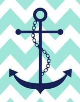 Chevron Anchor Navy Light Turquoise