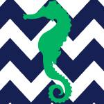 """Chevron Seahorse Navy Green"" by ZeppiPrints"