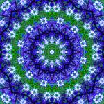"""Blue & Green Floral Nigella Kaleidoscope Mandala"" by TigerLynx"