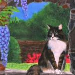 """Maine Coon Cat & Wisteria"" by evansonart"
