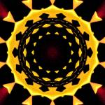 """Yellow & Burgundy Kaleidoscope Mandala"" by TigerLynx"