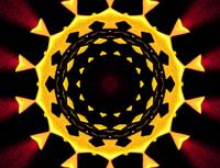 Yellow & Burgundy Kaleidoscope Mandala