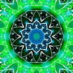 """Green & White Swirls Kaleidoscope Mandala"" by TigerLynx"