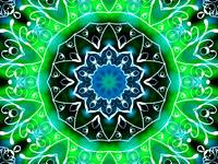 Green & White Swirls Kaleidoscope Mandala