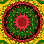 """Red, Green & Yellow Kaleidoscope Mandala"" by TigerLynx"