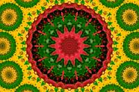 Red, Green & Yellow Kaleidoscope Mandala