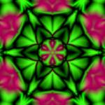"""Soft Green & Magenta Flower Kaleidoscope Mandala"" by TigerLynx"