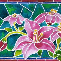 Day Lilies In Stained Glass Art Prints & Posters by Janis Grau