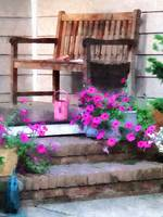 Pink Petunias and Watering Cans