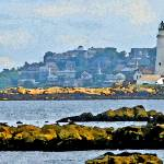 """Boston Harbor Lighthouse Panorama Watercolour"" by zaniac"