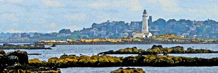 Boston Harbor Lighthouse Panorama Watercolour