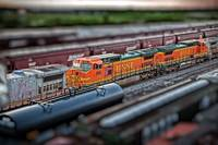 BNSF train color print tilt shift saginaw texas