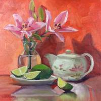 Pink LIlies, Tea and Limes