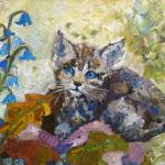 """Kitten and Bluebells Impressionist Oil Painting"" by GinetteCallaway"