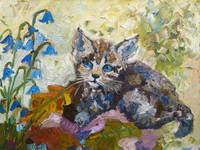 Kitten and Bluebells Impressionist Oil Painting