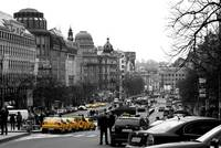 Taxis in Wenceslas Square
