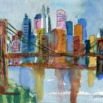"""Brooklyn Bridge, Impressionistic New York City Sky"" by schulmanart"