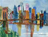 Brooklyn Bridge, Impressionistic New York City Sky