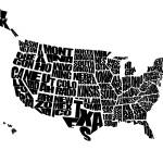 """USA Text Map - Black on White"" by inkofme"