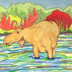 """Moose in a Lake"" by DennyPhil"