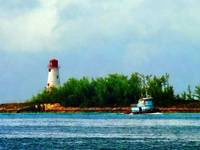 Lighthouse with Boat Nassau Bahamas