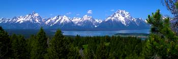 Grand Tetons Over Jackson Lake Panorama