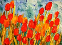 Tulip Kisses, red and orange tulip painting