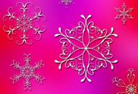 White Snowflakes On Pink