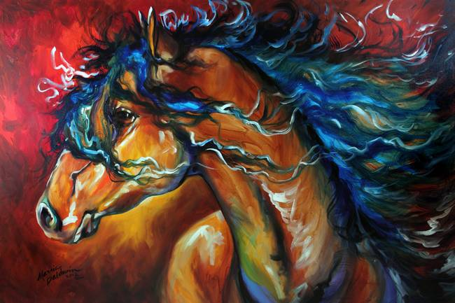 "Contemporary Painting - ""EQUUS 2 by M BALDWIN 18 X 18 ORIGINAL OIL"" (Original Art from Marcia Baldwin)"