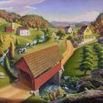 """Folk Art Country Farm Rural Covered Bridge"" by walt-curlee"