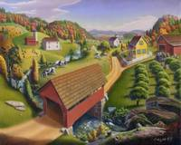 Red Covered Bridge Folk Art Farm Life Landscape