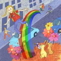 Girl Walking Over The Rainbow