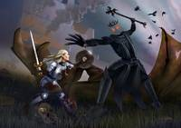 Eowyn battles the Witch King