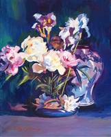IRIS PEONIES AND CHINESE VASE