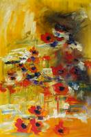 Dreaming of Poppies ABSTRACT Oil Painting
