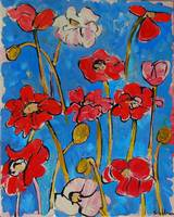 Whimsical Poppies III, red poppy art blue backgrou