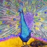 """Peacock Dance, Purple Green Blue Peacock Decor"" by schulmanart"