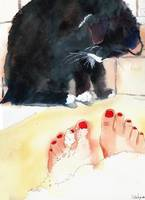 Tuxedo Cat Art | black & white cat | Ebony's Bath