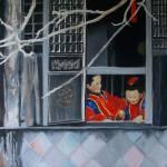 """Window in Winter (Old Shanghai) 30 x 30"" by Pamla"