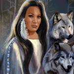"""Native American Maiden with Wolves"" by Unique_designs"