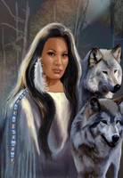 Native American Maiden with Wolves