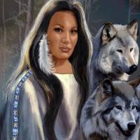 Native American Maiden with Wolves Art Prints & Posters by Gina Femrite